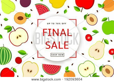 The colorful background with fruit. Final Sale poster banner. Vector illustration