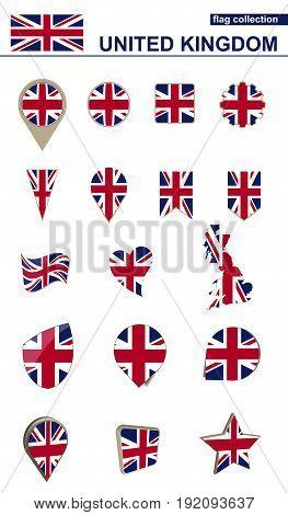 United Kingdom Flag Collection. Big Set For Design.