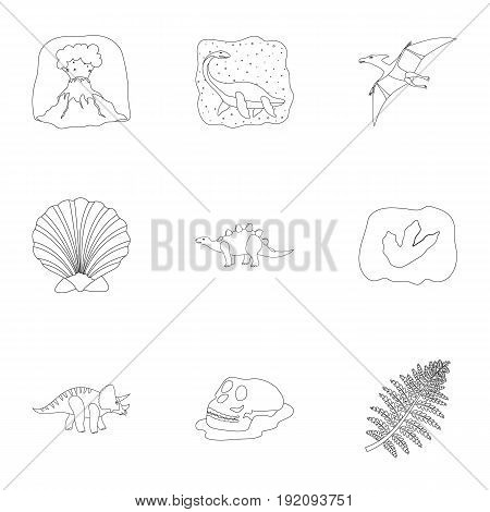 Ancient extinct animals and their tracks and remains. Dinosaurs, tyrannosaurs, pnictosaurs.Dinisaurs and prehistorical icon in set collection on outline style vector symbol stock web illustration. poster