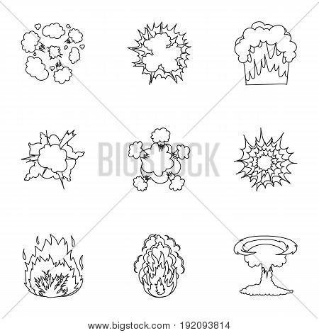 A set of icons about the explosion. Various explosions, a cloud of smoke and fire.Explosions icon in set collection on outline style vector symbol stock web illustration.