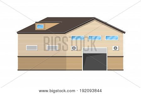 Warehouse logistics building. Storage icon. Storage in flat style. Vector illustration