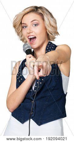 Woman mic microphone singing fun entertainment beautiful
