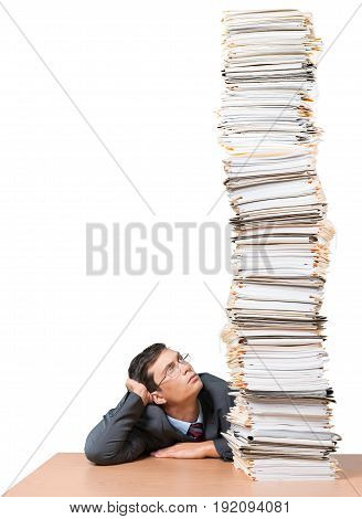 Young man stack looking papers color white