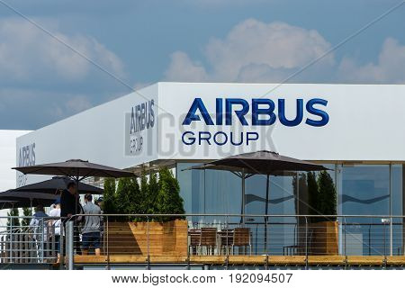 BERLIN GERMANY - JUNE 03 2016: Office Airbus Group. Exhibition ILA Berlin Air Show 2016