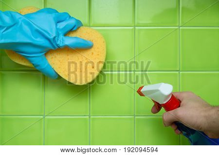 Cleaning hand holding cleaning equipment house cleaning cleaning services rubber glove sponge
