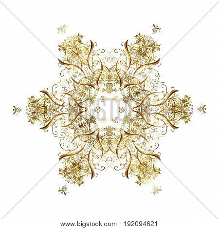 Repeating Pattern. Vector Design. Christmas Stylized Golden Snowflakes On A White Background.