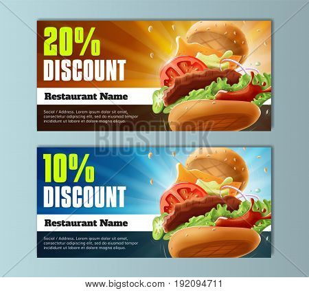 Burger Discount Voucher Template - well-organized and fully editable vector file EPS10