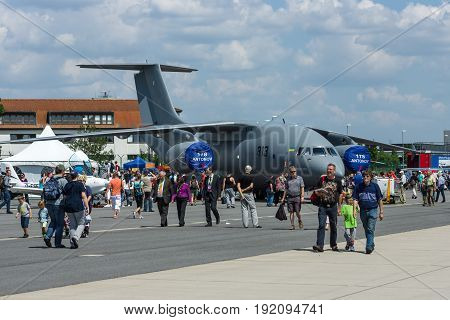 BERLIN GERMANY - JUNE 03 2016: Military transport aircraft Antonov An-178. Exhibition ILA Berlin Air Show 2016