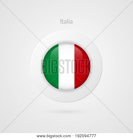 Vector Italian flag sign. Isolated Italy circle symbol. European country illustration icon for presentation project advertisement sport event travel concept web design badge logo