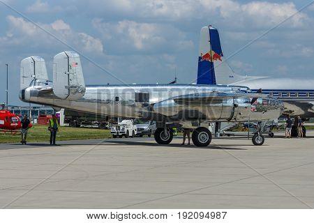 BERLIN GERMANY - JUNE 03 2016: The American twin-engine medium bomber North American B-25J Mitchell. The Flying Bulls Team. Exhibition ILA Berlin Air Show 2016