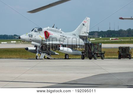 BERLIN GERMANY - JUNE 03 2016: Single seat subsonic carrier-capable attack aircraft McDonnell Douglas A-4N Skyhawk. Exhibition ILA Berlin Air Show 2016