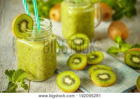 Kiwi Smoothie With Fresh Fruits
