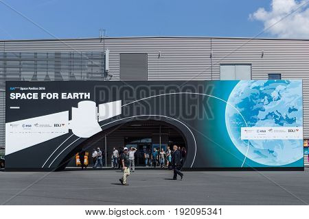 BERLIN GERMANY - JUNE 03 2016: Space Pavilion. Exhibition ILA Berlin Air Show 2016