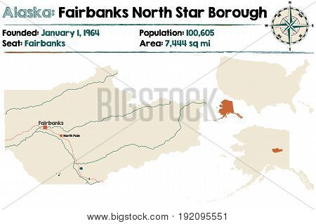 Large and detailed map of Fairbanks North Star Borough in Alaska