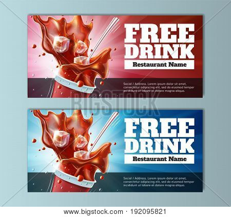 Free Drink Vouchers - well-organized and fully editable vector file EPS10