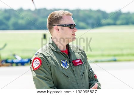 BERLIN GERMANY - JUNE 03 2016: US Air Force officer at the exhibition ILA Berlin Air Show 2016