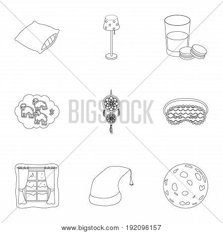 A set of pictures on a theme a dream, rest. Bed accessories for rest.Sleep and rest icon in set collection on outline style vector symbol stock web illustration.
