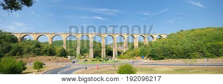 striking railway viaduct in the french Dordogne region