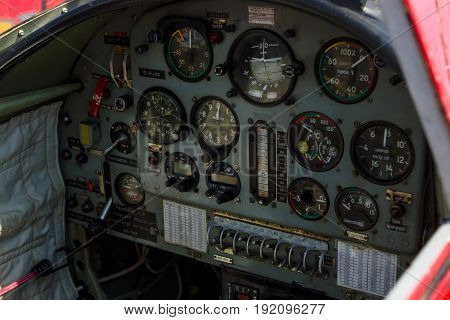 BERLIN GERMANY - JUNE 03 2016: Cockpit and dashboard of trainer/aerobatic aircraft Yakovlev Yak-50. Exhibition ILA Berlin Air Show 2016