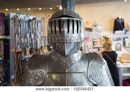 upper part of a medieval armor in a souvenir shop