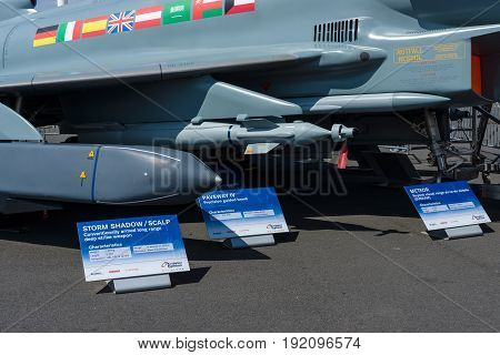BERLIN GERMANY - JUNE 03 2016: Samples of the suspension arms missiles and aerial bombs of multirole fighter Eurofighter Typhoon. Exhibition ILA Berlin Air Show 2016