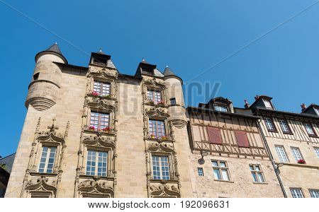 typical facades of french houses in a small village named Tulle