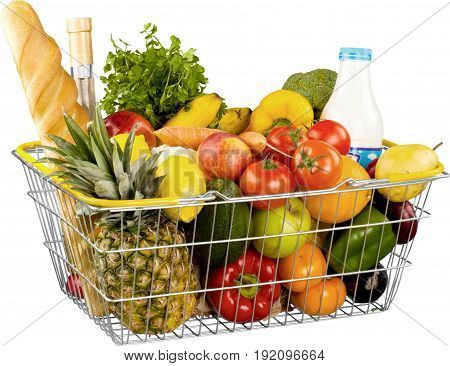 Basket groceries grocer shopping basket healthy eating multi colored large group of objects