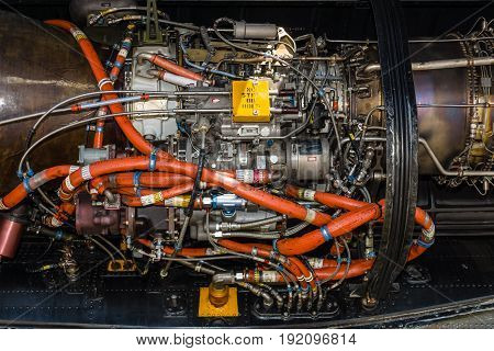 BERLIN GERMANY - JUNE 03 2016: Engine of the heavy-lift cargo helicopter Sikorsky CH-53 Sea Stallion. Close-up. Exhibition ILA Berlin Air Show 2016