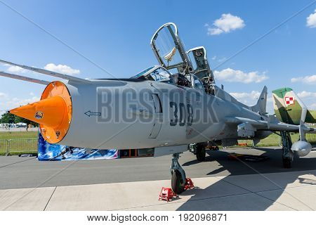BERLIN GERMANY - JUNE 03 2016: Fighter-bomber Sukhoi Su-22UM3K. Polish Air Force. Exhibition ILA Berlin Air Show 2016