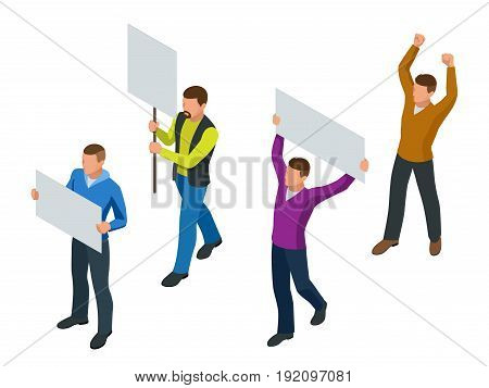 Protest Isometric People with placard and megaphones on demonstration. Demonstration, protest, strike concept
