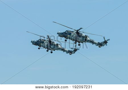 BERLIN GERMANY - JUNE 03 2016: An anti-submarine and anti-shipping helicopter - AgustaWestland AW159 Wildcat. Black Cats (Royal Navy Display Team). Exhibition ILA Berlin Air Show 2016