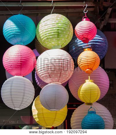 Colorful Paper Lantern Outdoor In A Marketplace
