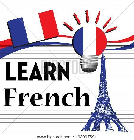Abstract colorful illustration with the French flag and the text learn French written with black letters