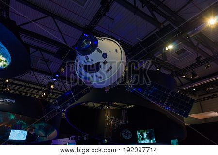 BERLIN GERMANY - JUNE 03 2016: Model of European Service Module for Orion. The joint development of National Aerospace Agency and Airbus Defence & Space. Exhibition ILA Berlin Air Show 2016