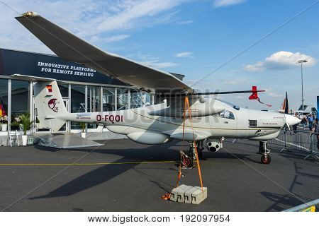 BERLIN GERMANY - JUNE 03 2016: The German reconnaissance aircraft Stemme Q01-100 (prototype). Exhibition ILA Berlin Air Show 2016