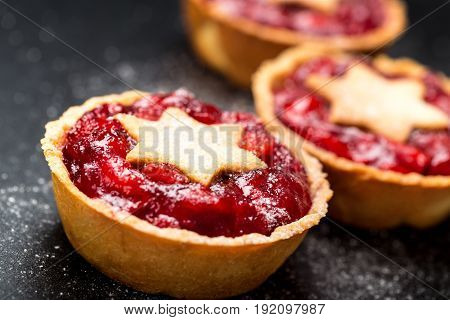 Delicious berries cakes red background fresh detail