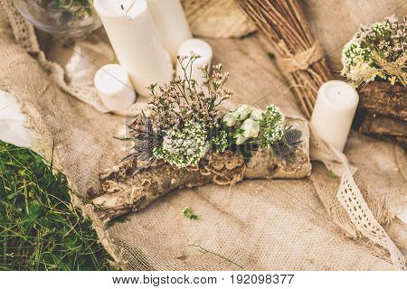 wedding candles wedding composition on the grass background