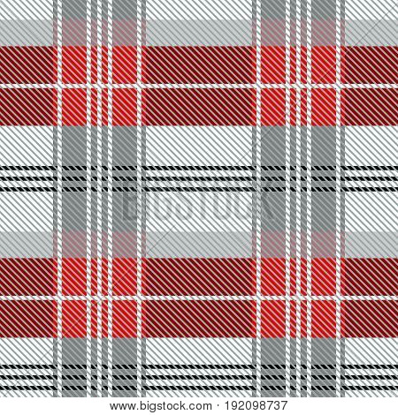 Simple geometric woolen print. Red, blue, white checkers and stripes on black background. Retro textile design collection.