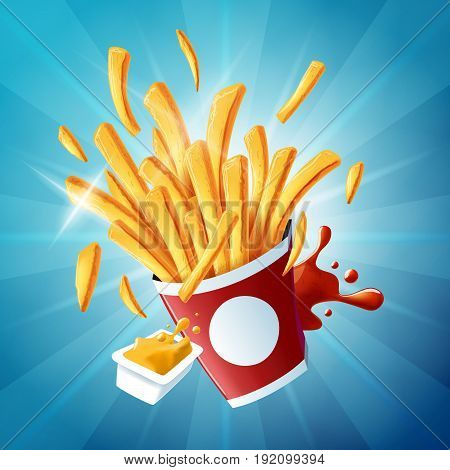 Flying fries on light blue background - well-structured and fully editable vector file