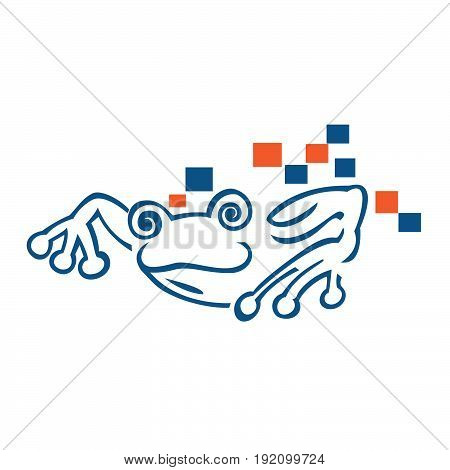 Frog digital and technology vector logo design.