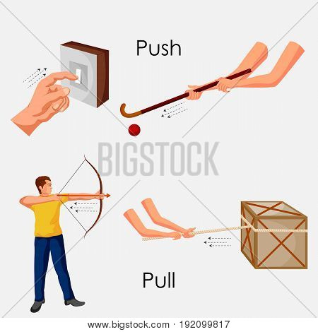 Education Chart of Physics for Push and Pull Diagram. Vector illustration
