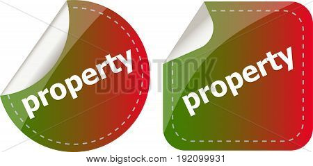 Property Word On Stickers Button Set, Label