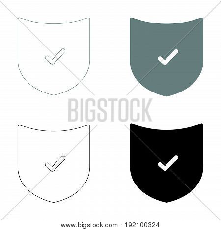 Shield   The Black And Grey Color Set Icon .