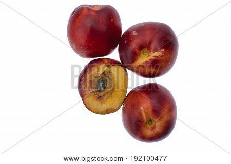 Ripe Nectarines Isolated On White Background