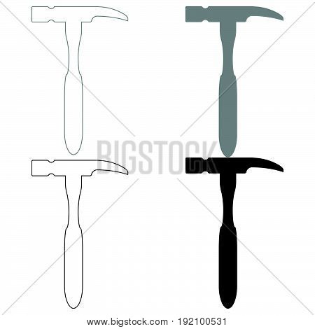 Hammer  The Black And Grey Color Set Icon .