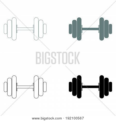 Dumbbell   The Black And Grey Color Set Icon .