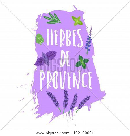Vector trendy emblem for the packaging of Provence herbs (french). Herbal seasoning and handwritten lettering on paint stain.
