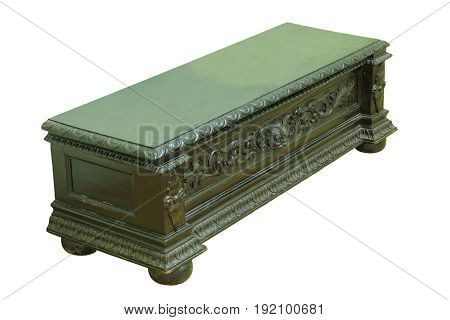 black vintage piece of beautiful furniture cabinet isolated over white background
