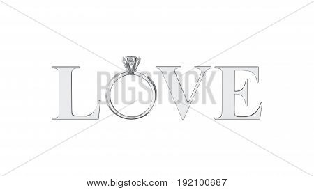 3D illustration isolated grey silver text word love with diamond wedding silwer or white gold ring on a white background