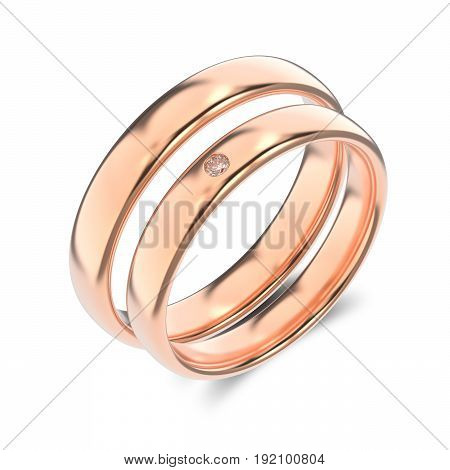 3D illustration two classic rose gold rings with diamond and a shadow on a white background